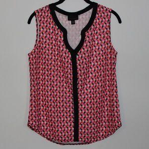 Worthington Sleeveless Printed Pink & Red Blouse